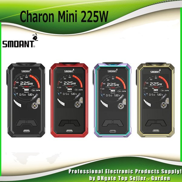 Original Smoant Charon Mini 225W TC Box Mod Dual 18650 Battery 2.0 inch TFT Color Screen Powered Ecig Vape Mods 100% Authentic