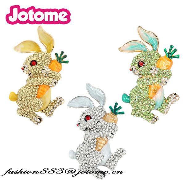 Bling Glitter Emaye Kristal Rhinestone kawaii Tavşan Turp Broş Hayvan Iğneler için Paskalya Iğneler