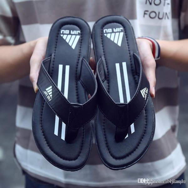 Summer Top grade leather designer slippers Comfortable Slippers men Stripes Indoor Flip-flops Outdoor Beach Flip-flops Sandals good quality