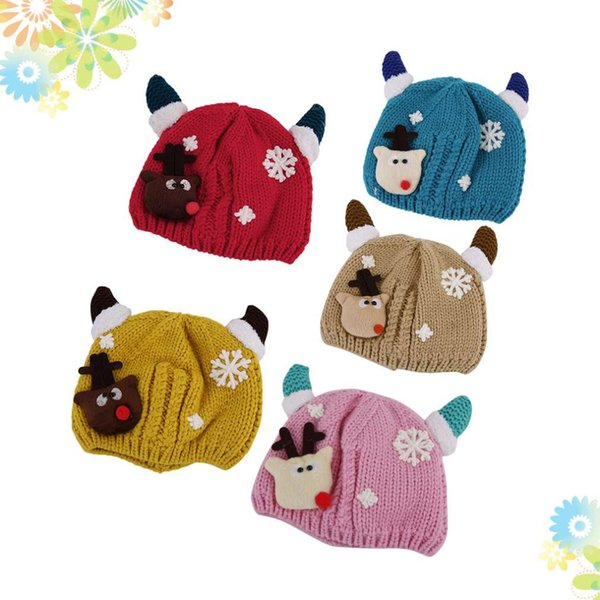 Hot! Cute Christmas Hats Baby Cartoon Crochet Knitted Cap Deer Horns Plus Velvet Warm Winter Hat for Baby New Sale