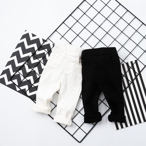 Bebek Bebek Pantolon Yenidoğan BoysGirls Jogger Çocuklar elastik sıska Pantolon Yürüyor beyaz siyah Tayt Pantalones Bahar