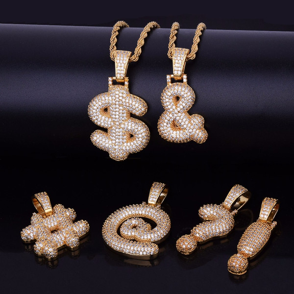 Iced Out Gold Silver Custom Bubble Question Mark Dollar Sign Pendant Necklace Charm Cubic Zircon Men Women HipHop Jewelry