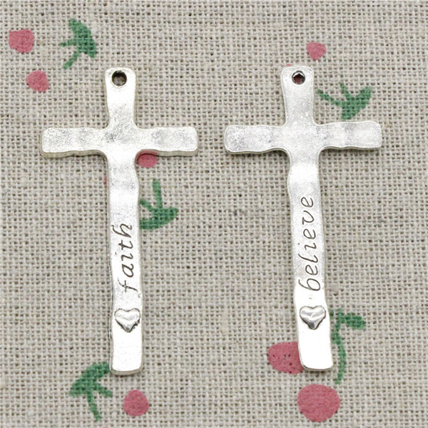 40pcs Charms cross faith believe 47*23mm Antique Silver Pendant Zinc Alloy Jewelry DIY Hand Made Bracelet Necklace Fitting