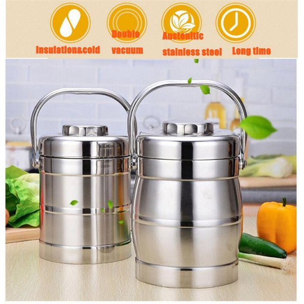 304 Stainless Steel Double-Wall Vacuum Food Container Multi-Layer Insulation to Mention Pot Adult Lunch Box Stew Pot Big Capacity 2L 071