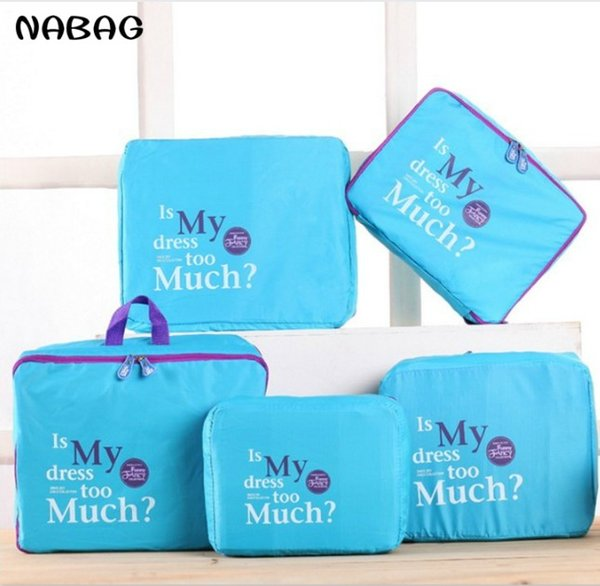 NABAG 5Pcs/Set Travel Storage Bag Clothes Cosmetic Tidy Organizer Pouch Luggage Suitcase Handbag Home Closet Divider Container