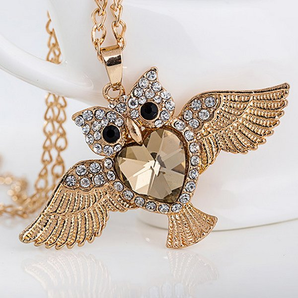 Vintage Owl Charms Pendant Necklace Animal Jewelry With Crystal Rhinestone Accessories For Women Jewelry Gift 4.5x8cm Drop Shipping