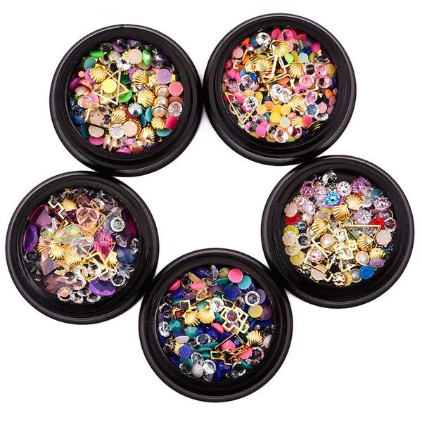 1 Box Nail Art Rhinestones Colorful Crystal Flatback Non-Hotfix DIY Tips Sticker Shell Alloy Beads Pearls Nail Jewelry Accessory