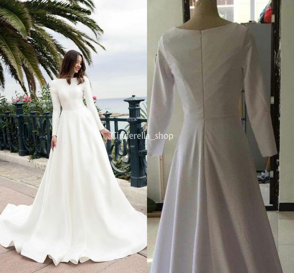 Vintage Long Sleeves Muslim Wedding Dresses 2018 Bateau A Line Sweep Train Satin Dress For Bridal Vestidos De Noiva Plus Size Customized