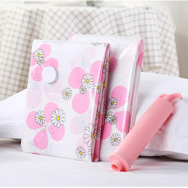 Vacuum Storage Bag 11pcs/set Clover Pattern Hand Pump Foldable Quilt Storage Bags Clothes Vacuum Compressed Bag