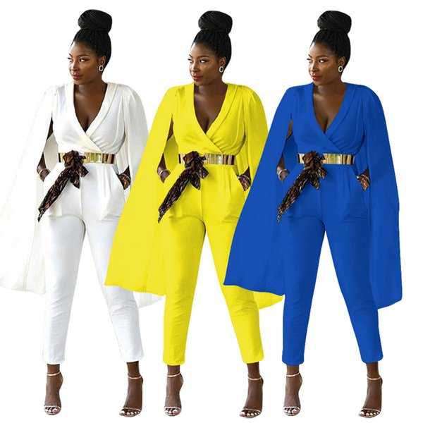 2018 Autumn Fashion Long Women Jumpsuits with Cape Deep v neck Cap Sleeves Pockets Elegant Pants Suits Blue Yellow White Colors Real Image