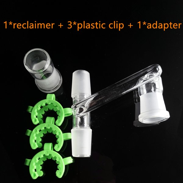 Glass Reclaimer Adapter with Keck Clip Dropdown Adapter Two Male joint 14mm 18mm Drop Down Adapters for Oil Rig Glass Bongs