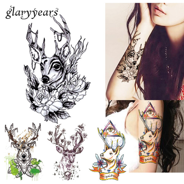 a3652e277 1 Sheet Sexy Body Arm Art Temporary Tattoo Sticker HB340 Product Women Men  Deer Flower Deer