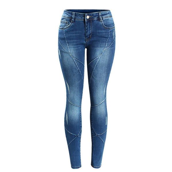 Fashion Women`s Crossing Line Patchwork Plus Size Brand New Mid Low Waist Stretch Skinny Pants Jeans for Women Denim Jean