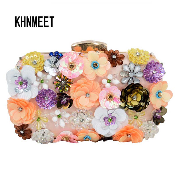 Free shipping by DHL Hand made Luxury Lady Diamond Flower Evening Bag Wedding Party Bridal Clutch Purse Chain Bag banquet clutch