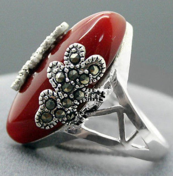 wholesale Beautiful Marcasite 925 red Natural Stone jewelry sterling silver ring size 7-10
