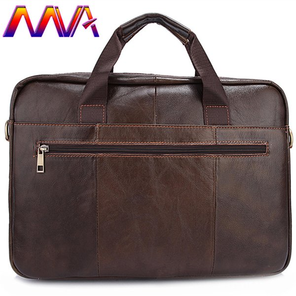 MVA Cheap price leather men shoulder bag for fashion business men leather briefcase with 100% genuine laptop bags