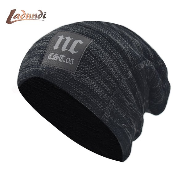 Skullies Beanies Knitted Hat Winter Hats For Men Women Mask Beanie Warm Baggy Soft Thick Gorros Bonnet Letter NC Hat Cap