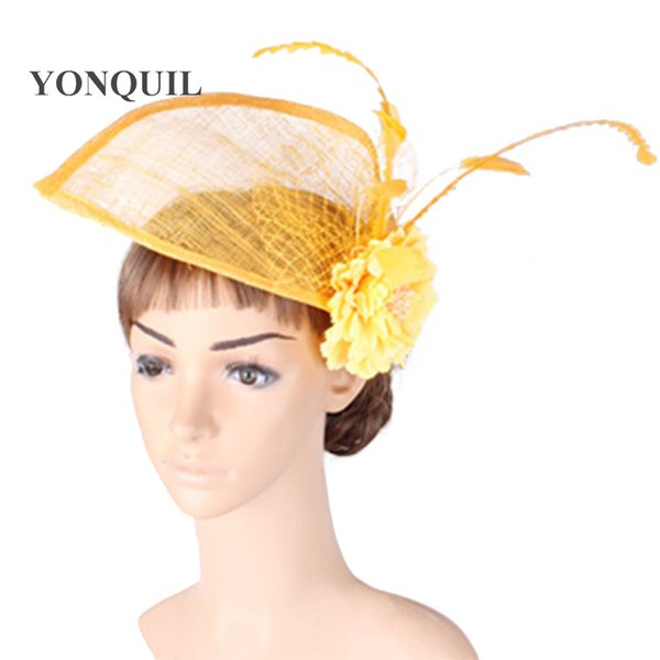 2016 new style party headwear silk flower with sinamay fascinator wedding hair accessories event occasion hats and bridal hairstyle MYQ134