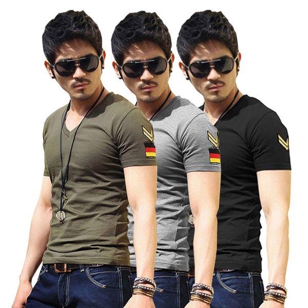 2018 Hot Sale T-shirt Do Exército Militar Slim Fit Forças Especiais Camisas New Arrival Mens Casual V Neck Tee Slim Fit Tops T-shirt de Manga Curta