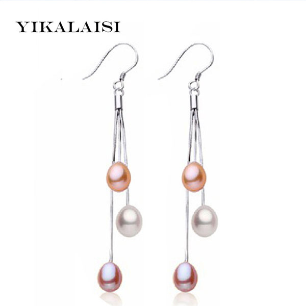 YIKALAISI 2017 moda orecchini orecchino 100% naturale perla d'acqua dolce orecchini lunghi 925 gioielli in argento sterling per le donne migliori regali