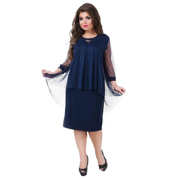 Ukraine Herbstkleid Plus Size Damen Kleidung Netz Winterkleid Elegantes Büro Kleid 5XL 6XL Groß