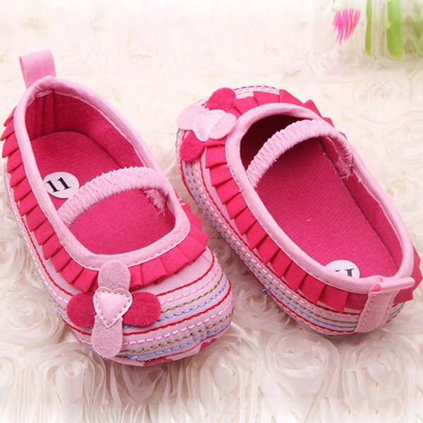 Cotton Cloth First Walker Four-Flower Baby Girl Striped Sole Shoes for Kids Cute Toddler Shoe