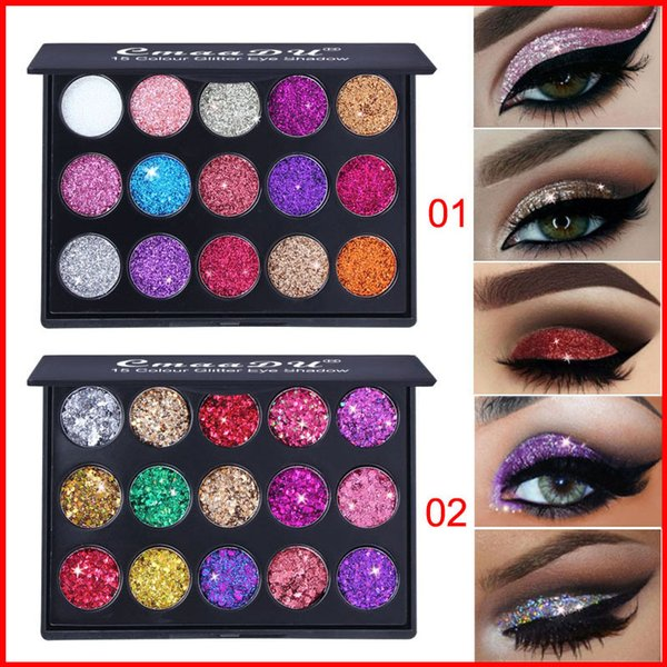 CmaaDu Make-up Lidschatten-Paletten 15 Farben Diamant Pailletten Shiny Glitter Eye Make up 2 Styles