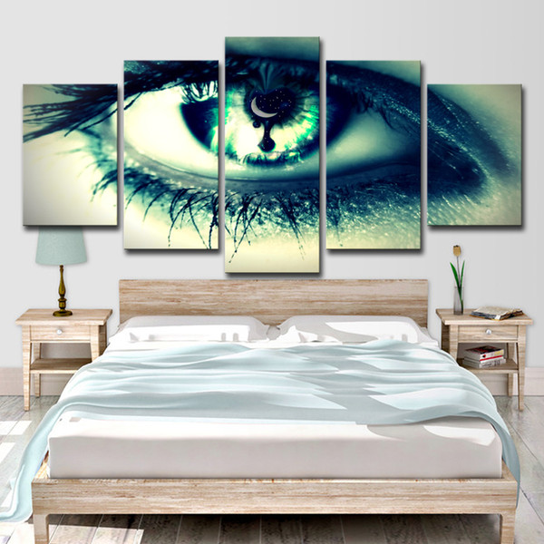 Canvas HD Prints Paintings Wall Art Home Decor 5 Pieces Green Woman Cool Eye Pictures For Living Room Modular Posters