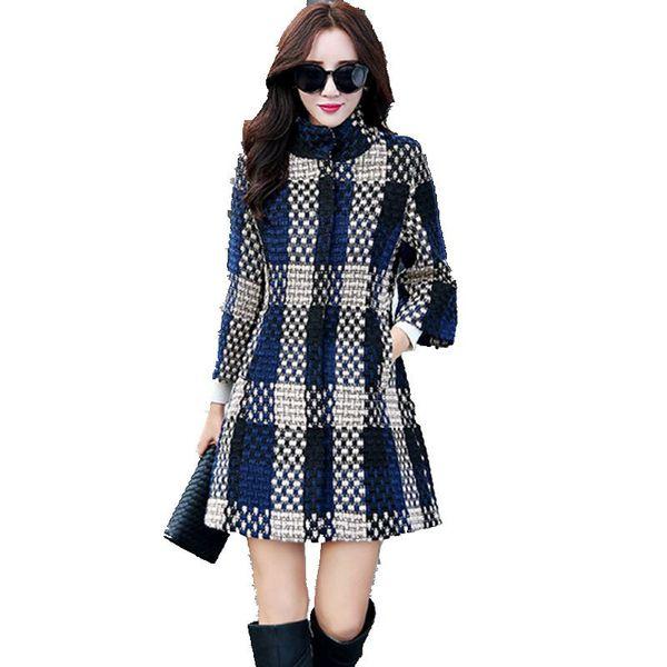 Sweater Women Cardigan Big yards Grid Cashmere coat Korean Mew style Shag line 7 minutes of sleeve Autumn Winter Coat BN1338