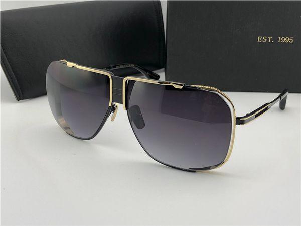 kutu ile Siyah Parlak Altın / Gri Gölgeli Güneş Sonnenbrille Mens lüks Tasarımcı Güneş Gözlükleri Shades unisex Yeni