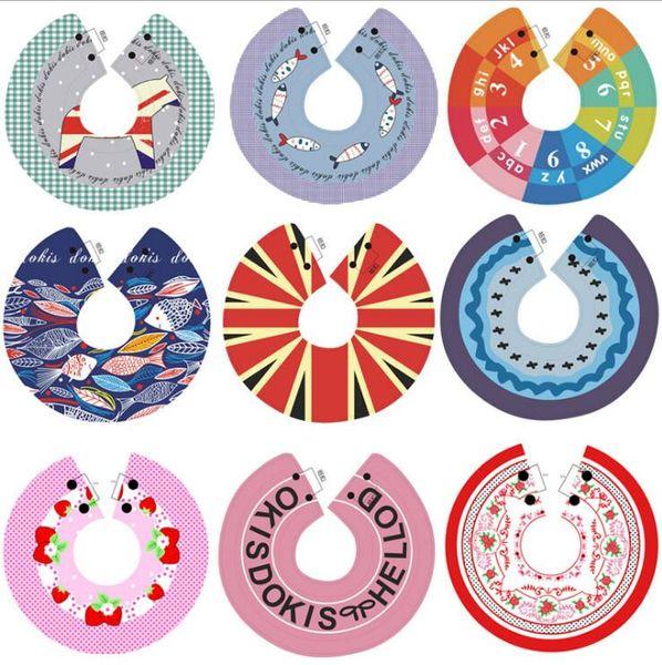 Bavoir pour bébé Salive Serviette 360 Degrés Rotatif Coton Bande Dessinée Fruit Imprimé Imperméable Bébé Garçons et filles Bavoirs Rotating Towles