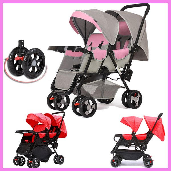 360 Degree Omni-directional Wheels Twins Baby Stroller Baby Carriage Car Light Double Stroller for Twins Child Trolley Pushchair