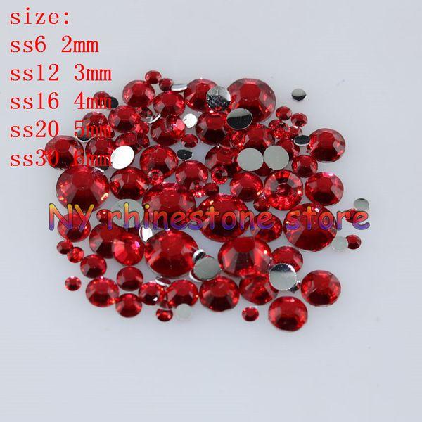 best selling 1000-10000pcs bag 2-6mm Crystal Red Resin Crystal Rhinestones FlatBack Super Glitter Nail Art Wedding Decoration Applique Non HotFix 09