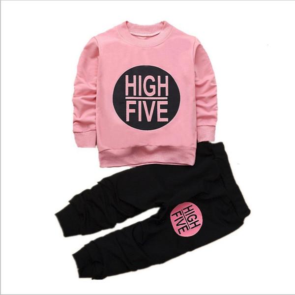 2018 Ensemble coréen de vêtements pour enfants coréens Sports Casual Vêtements pour enfants Costume Garçons Lettres Sweatshirt Tops + Pantalon Ensemble de vêtements