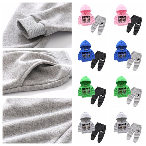 IN STOCK!!! Fortnite Children's Two Pieces Unisex Suit Fleece Hoodie Shirt+Pant Suit Long Sleeve Long Pants Kids Autumn Winter Clothes