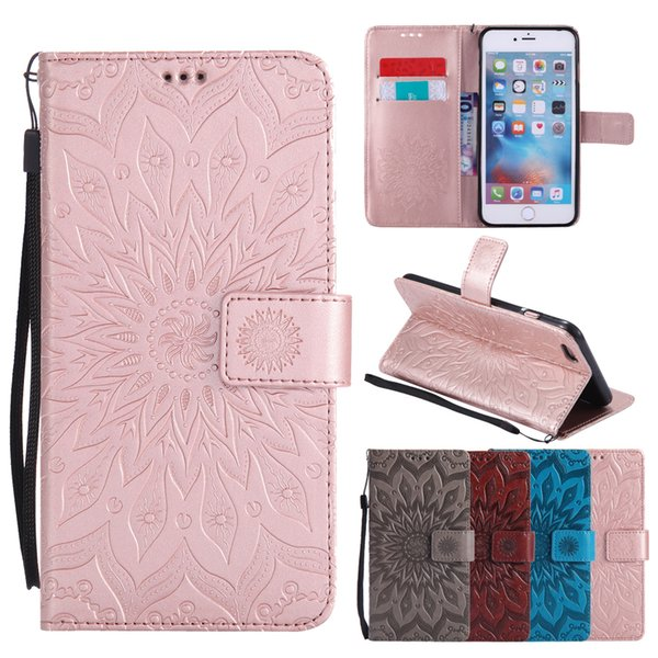 Flip Leather Cases For iphone X SE 5 5s 6/6s 7 8 plus 7plus Coque Mandala Flower Wallet Cover Stand Phone Cases