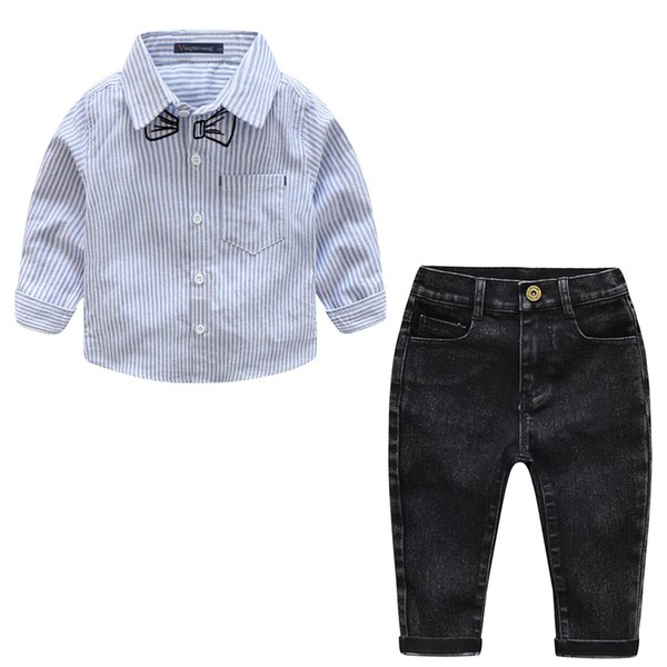 Spring and Autumn New Kids Set Children's Korean long-sleeved embroidery tie striped shirt + jeans boy Two-piece
