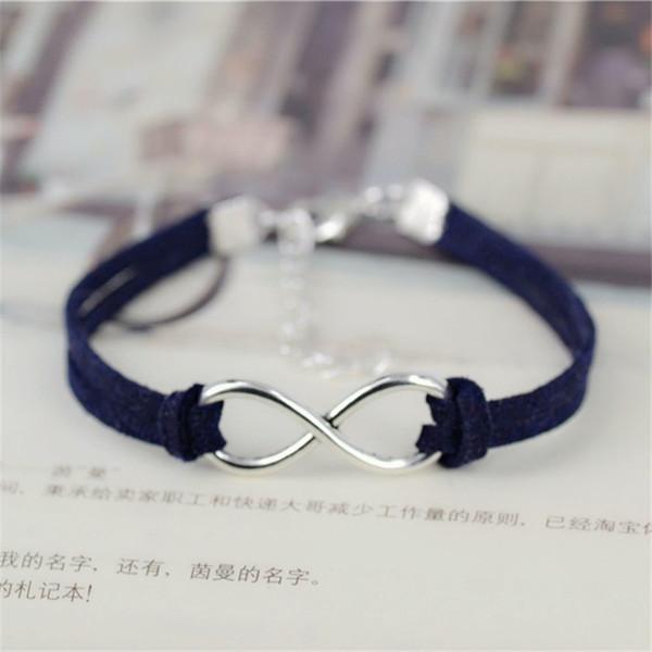 New Fashion Design Elegant Charm Navy Leather Suede Cuff Bracelet Bangle Silver Alloy Big Infinity Pendant Women Men Statement Jewelry Party