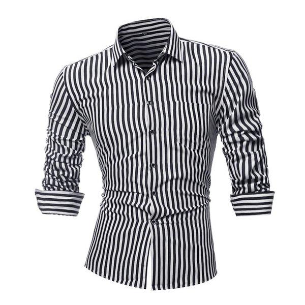YJSFG HOUSE Brand Fashion Men's Striped Shirts Long Sleeve Slim Dress Shirts Casual Male Single Breasted Plus Size Tops
