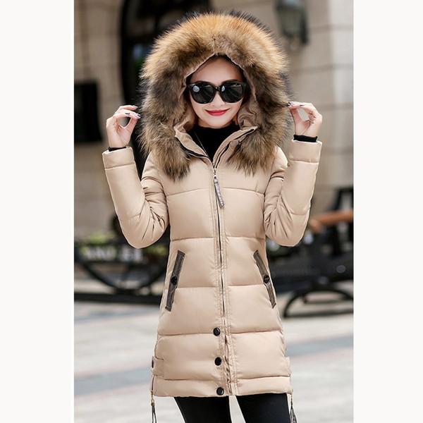 Winter Women Hooded Parka Coat Cotton Padded Long Warm Coat Ladies Long Sleeve Big Fur Collar Thick