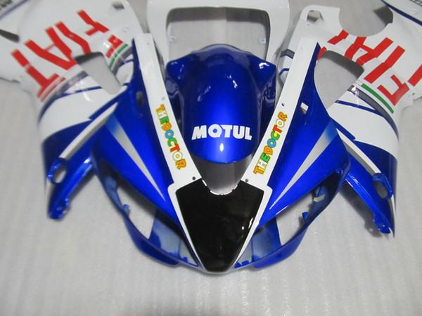 High quality Fairing kit forYAMAHA YZF R1 1998 1999 white blue fairings set YZF R1 98 99 GF49