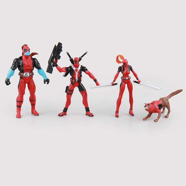 4pcs/lot Action Figure Deadpool Wade Winston Wilson X-Men PVC 5-12cm Christmas gift Toys doll Collectible Model anime
