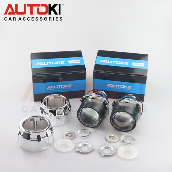 Autoki 2017 Update 2.5 inch H1 Mini 8.0 HID Bi-xenon Projector Lens + Mask LHD RHD for Auto Headlight H1 H4 H7 H11 9005 9006