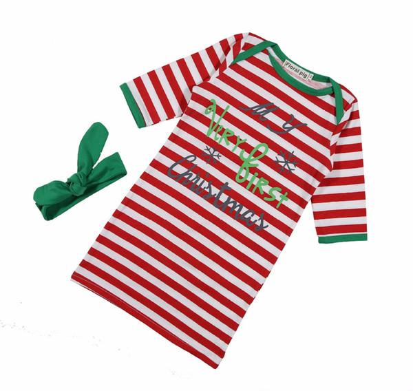 2018 Newborn Christmas swaddle red green striped baby long sleeve sleeping bag+green bow headband winter swaddle sleepsack santa