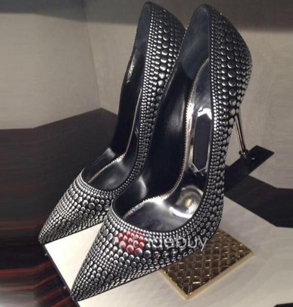 New 2018 Thin Heels pumps metal heel Pumps Women Pointed Toe spike stud high heel sliver Women party Shoes