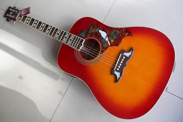 best selling Free Shipping dove Model Dove Acoustic Electric Guitar Made Of Solid Maple Fir Top, High Quality In Cherry Burst 120130