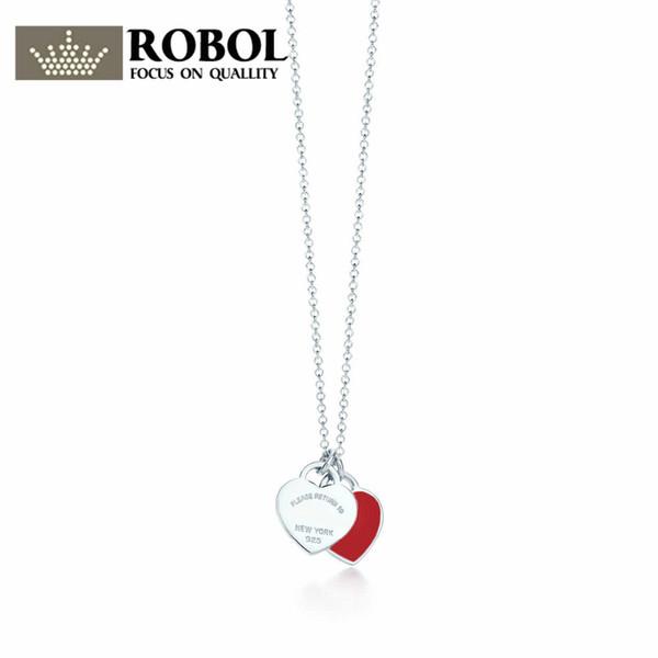ROBOL 2018 New Trendy Heart Necklace Brand 925 Streling silver Pendant Charm New York For Women Elegant Fine Bracelet Jewelry