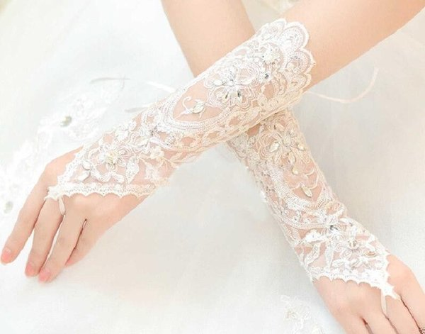 High Quality White Ivory Lace Appliques Bridal Gloves Fingerless Crystal Beaded Short Bridal Glove Wedding Accessories Short Rhinestone