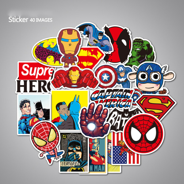 40Pcs/set The Avengers Stickers Toys Cute Cartoon Style Super Hero No Repeat For Car Laptop PVC Waterproof For Children Gift F2