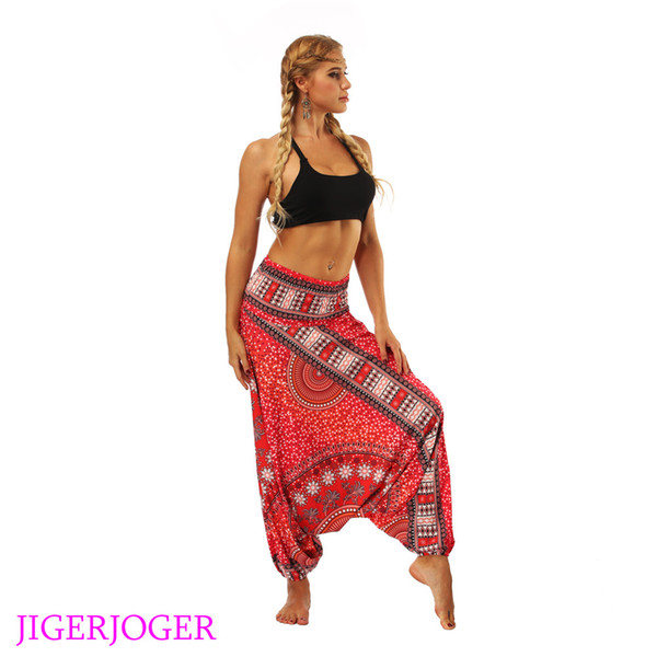 JIGERJOGER 2018 Red galaxy floral Yoga leggings lounge pant Bloomers Thailand style wide leg loose pants beach wear pantaletters